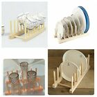 Wooden Plate Rack Wood Stand 7 Dishes Pans Pots Cups Plates Lid Display Holder