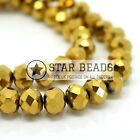 FACETED RONDELLE CRYSTAL GLASS BEADS METALLIC GOLD 4MM,6MM,8MM,10MM,12MM