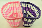 GIRLIE BIKE BICYCLE BASKET CHILDS,CHILDRENS,KIDS BIKE,CYCLE WOVEN BASKET PNK/PUR