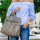 Summer Womens Off The Shoulder T-Shirts Casual Striped Loose Tops Blouses Tee