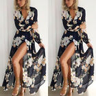 New Women Ladies Floral Print Long Sleeve Boho Evening Party Long Maxi Dress