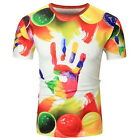Round Tops T-Shirt  Men's Current Palm 3D Painting Short Sleeve T-shirt