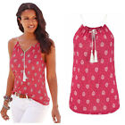 Women sexy lace up Casual T Shirt Tops Summer sleeveless bodycon floral Blouse