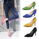 New Womens Kitten Pointy Toe Bowknot Strap Faux Suede Work Pumps Party Shoes UK