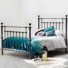 Luxury Black Nickel Metal Bed Frame Gothic Ornate Style Double King Size