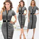 Party Wear zipper Lattice Dress Formal V-Neck Dresses Slim Elegant  Black Skirts