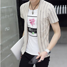 2PCS Mens T-shirt Short Sleeve Slim Fit Blouse Tops Casual And Vest Printed Flor