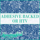 Royal Blue & White Paisley Pattern #1 Adhesive Vinyl or HTV for Crafts or Shirts