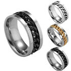 Fashion Women Mens Steel Rotatable Chain Band Ring Finger Spinner Ring Toys TB