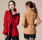 Womens Slim Stylish Double Breasted Trench Coat Winter Long Jacket Overcoat Coat