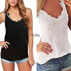 New Fashion Women Casual V-Neck Spaghetti Strap Lace Floral Patchwork TXCL01