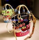 Womens Girl Leather Tote Embroidery Graffiti Shoulder Bags Bucket bag Handbags