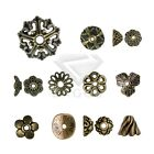 25-500pcs End Bead Cap Metal Flower Round Cone Jewellery Findings Antique Brass