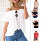 Summer New Women Casual Short Sleeve Loose T-shirt Off Shoulder Tee Tops White