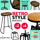 4x Industrial Retro Bar Stool Barstool Dining Chair Wooden Timber PU Seat