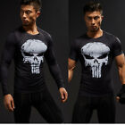 Men's Superhero Punisher T-shirt Compression Short Long Sleeve Gym Sport Jersey