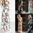 New Womens Long Sleeve Floral Printed Long Maxi Cocktail Party Dress UK 10-16