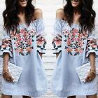 Sexy Fashion Women Printing Dress Off Shoulder Mini Dressess Beach Dress AU
