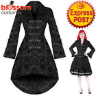 RKH108 Black Hearts and Roses H&R Rockabilly Steampunk 50s Brocade Jacket Coat