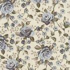 LARGE BLUE GREY ROSES - LINCOLN LANE - GINGER LILY STUDIOS - 100% cotton fabric