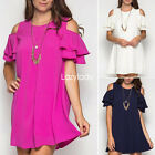 2017 Fashion Solid Butterfly Sleeve Boho Beach Straight Loose Mini Dress New