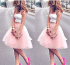 Pink 5 Layers 55cm Fashion Women Tulle Skirts Princess Skirts Prom Party Skirts