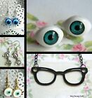 EYES EYEBALLS EVIL EYE GLASSES NECKLACE OR PAIR EARRINGS PIERCED EARS STUDS