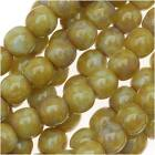 Czech Glass Druk Round 4mm Lt Olive Picasso (100 Beads)