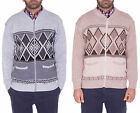Mens Classic Long Sleeve Zip Up Cardigan Argyle Diamond Aztec Print Sweater