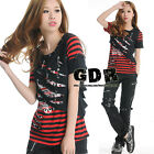 PUNK STRIPED 2LAYER CUT CROPPED TREND MAX SHIRT TOP 71208 BR ML
