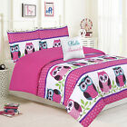 Girls Bedding Twin or Queen Comforter Bed Set, Owl Pink Teal Purple Owls Polka