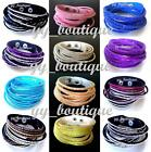 NEW Fashion Wrap Around Crystal Diamante Waterfall Leather Bracelet UK Seller