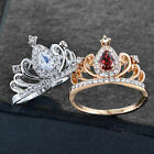 Dainty Fascinating Womens Crown Cubic Zirconia Silver Plated Party Wedding Rings