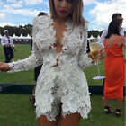 Women's Sexy Open Front Deep V Lace Coat Shorts Blazer Suit Two Pieces Outfits