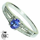 BJC® 9ct White gold Tanzanite & Diamond solitaire size P engagement ring R96