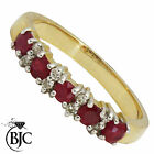 BJC® 9ct yellow gold Ruby & Diamond Eternity size P engagement dress ring R17