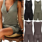 New Woman's Beach Casual V-neck Jumpsuit Fashion Sleeveless Zipper Slim Rompers