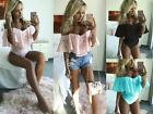 UK Sexy Womens Off Shoulder Strappy Jumpsuit Blouse Lace Bodysuit Leotard Tops
