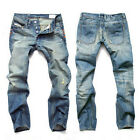 Fashion Jeans Men Straight Dark Blue Color Printed Mens Jeans Ripped Jeans