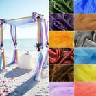 0.75*10M Crystal Sheer Organza Fabric Tulle Roll Wedding Table Runner Party Dec