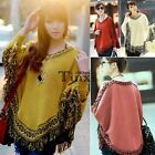 Women Batwing Sleeve Tassels Hem Style Cloak Poncho Cape Tops Knitting TXCL01