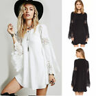 Plus Size UK Womens Lace Baggy Summer Dress Sundresses Beach Dresses Blouse