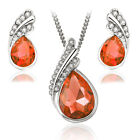 Women Austrian Full Crystal Silver Plated Necklace African Dubai Jewelry Sets