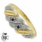 BJC® 9ct Yellow gold Sapphire & Diamond Gypsy size M engagement dress ring R60