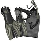 PROMATE Spectrum Adult Snorkeling Mask Fins Dry Snorkel Mesh Bag Dive Gear Set
