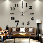 Modern DIY Large Wall Clock 3D Mirror Surface Sticker Home Decor Art Design LP
