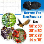 Anti Bird Net Netting for Bird Poultry Aviary Game Pens 50/25x50', 28x28',14x74'