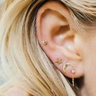 3pcs Cute Moon Star Heart Ear Stud Earrings Women's Tiny Silver Plated Jewelry