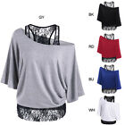 Skew Collar Lace Trim T-Shirt Women Top Tees Short Sleeve Solid Casual T Shirt