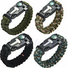 Survival Bracelet Outdoor Paracord Flint Fire Starter Scraper Whistle Gear Cord